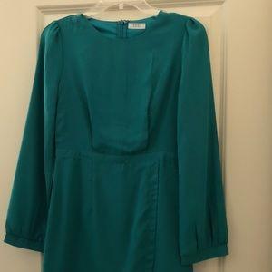 Teal Long Sleeve Mini Dress